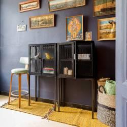 Petit Vaisselier Salon BebopMini Guibox Meuble Etagère Console Rectangulaire Design Industriel Vintage en Métal Noir 30x60x120cm