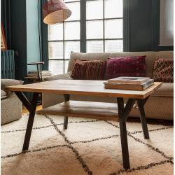 Table Basse Rectangulaire Baobab Guibox Salon Design Authentique Industriel Vintage en Acier et Manguier 44x70x100cm