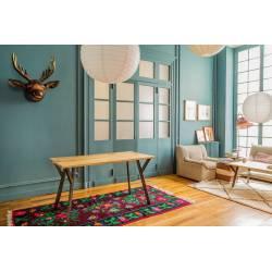 Table de Repas Rectangulaire Baobab Guibox Salon Design Authentique Industriel Vintage en Acier et Manguier 76x100x180cm