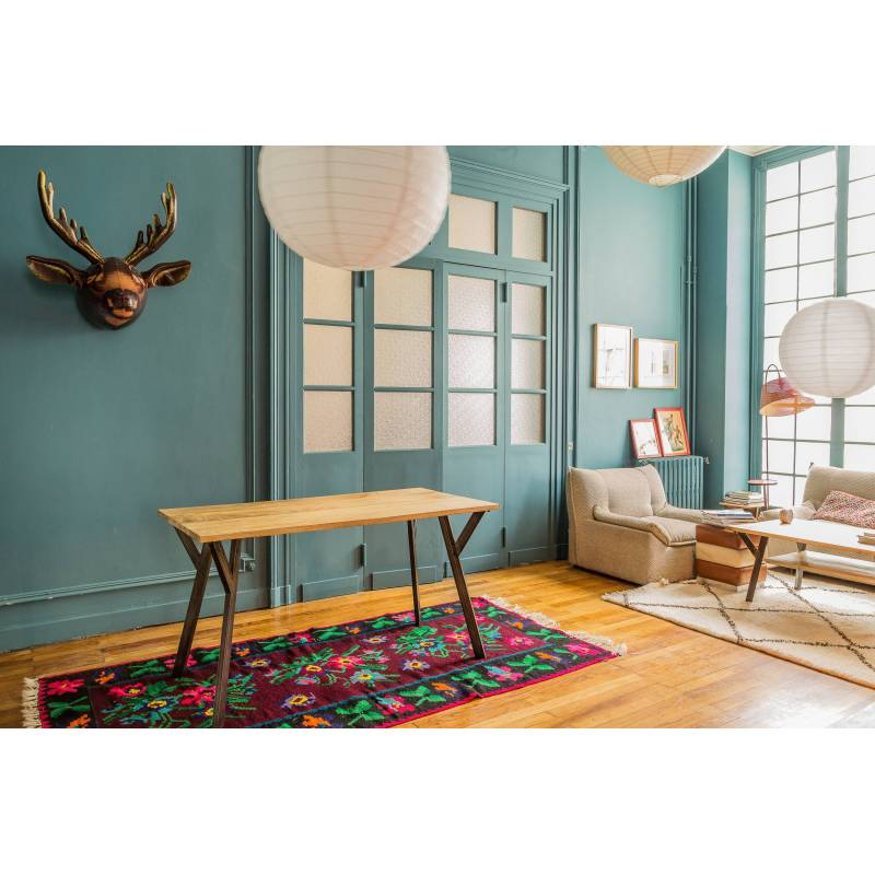 grande table de repas rectangulaire baobab guibox salon design authentique industriel vintage en. Black Bedroom Furniture Sets. Home Design Ideas