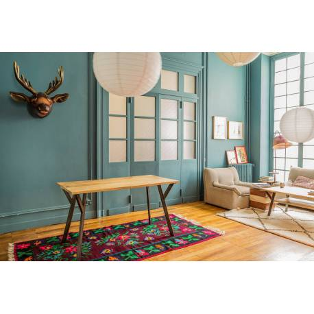 Table de Repas à Rallonges Rectangulaire Baobab Guibox Salon Design Industriel Vintage en Acier et Manguier 76x100x160cm