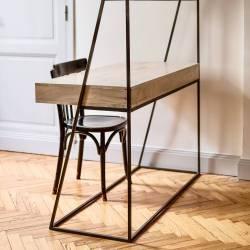 Bureau Dandy Guibox Console d'Appoint Industrielle Sellette Salon en Acier et Bois de Manguier 49x120x170cm