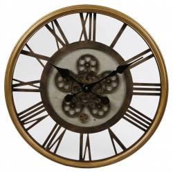 Grande Horloge Ronde Pendule Murale Vintage Industriel Style Usine en Fer Doré et Verre 8x54x54cm