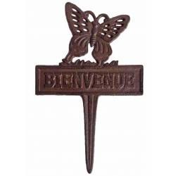 Tuteur Pic de Jardin Motif Etiquette Papillon Bienvenue Tige en Fonte Patinée Marron 1x19x30cm