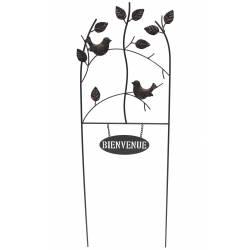 Grande Grille Clochette Treillis Tuteur à Fleurs Plantes et Fleurs de Lys en Fer Patiné Marron 6x35x167cm