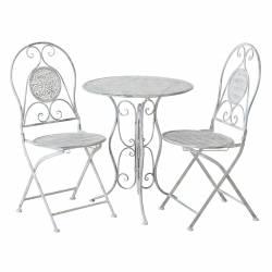 Salon de Jardin Salon de Thé 2 Places Personnes Table Bistrot et 2 Chaises Pliantes en Fer Blanc