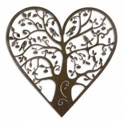 Arbre de Vie Décoratif à Fixer Applique Murale Fronton Motif Nature en Forme de Coeur en Métal Patiné Marron 0,5x59x59cm