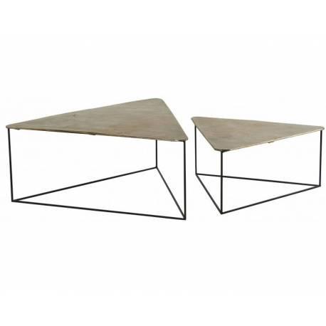 Lot De 2 Tables Basses Consoles Dessertes Gigognes Triangulaires En Acier Brut Et Laiton