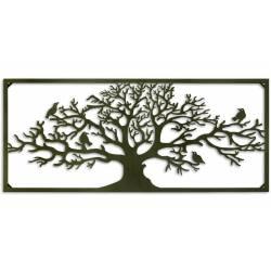 Magnifique Arbre de Vie de Forme Rectangulaire avec Cadre Motif Oiseaux 3x51x118cm