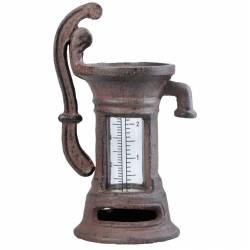 Pluviomètre à Poser Forme Fontaine à Eau en Fonte Marron 7x10x18cm