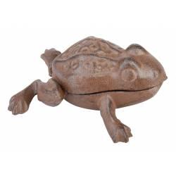 Grenouille à Poser Cache Clé Clef Sculpture en Fonte Patinée Marron 4,5x8x9,5cm