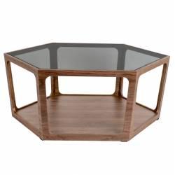 Table Basse Sita Dutchbone Console de Salon Forme Héxagonale Bois et Verre 34x92,5x92,5cm