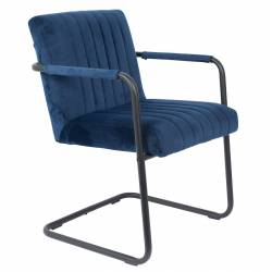Fauteuil Lounge Chaise Velours Bleu Stitched Dutchbone Style Rétro 58x66x83cm