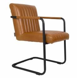 Fauteuil Robins Marque Hanjel Siège de Salon 1 Place Style Vintage en Acier Bois et Cuir Marron 62x72x84cm
