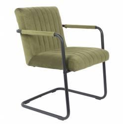 Fauteuil Lounge Chaise Velours Vert Olive Stitched Dutchbone Style Rétro 58x66x83cm