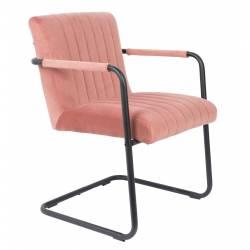 Fauteuil Lounge Chaise Velours Rose Stitched Dutchbone Style Rétro 58x66x83cm