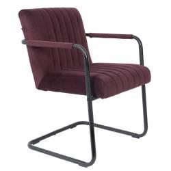 Fauteuil Lounge Chaise Velours Aubergine Stitched Dutchbone Style Rétro 58x66x83cm