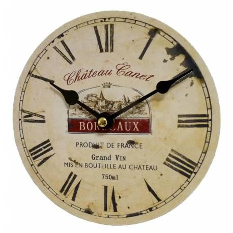 Horloge Murale Pendule Ronde en Bois et Papier Chateau Canet Bordeaux 4x16x16cm