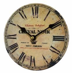 Horloge Murale Pendule Ronde en Bois et Papier Cheval Noir Saint Emilion 4x16x16cm