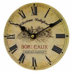 Horloge Murale Pendule Ronde en Bois et Papier Chateau Delafont Bordeaux 4x16x16cm