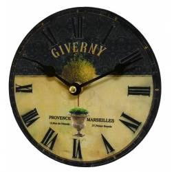 Horloge Murale Pendule Ronde en Bois et Papier Giverny Provence Marseilles 4x16x16cm