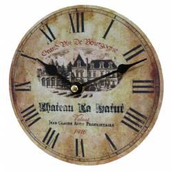 Horloge Murale Pendule Ronde en Bois et Papier Grand Vin de Bourgogne 4x16x16cm