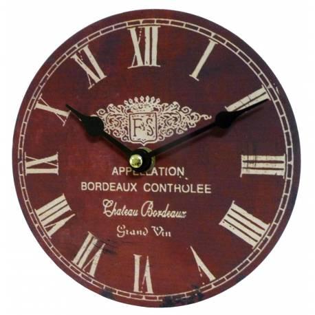Horloge Murale Pendule Ronde en Bois et Papier Appelation Bordeaux Controlée 4x16x16cm