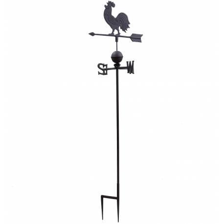 Girouette avec 4 Points Cardinaux Motif Coq 2 Pics en Fonte Patinée Marron 45x45x185cm