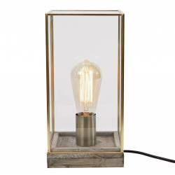 Luminaire d'Appoint Lampe Tendance à Poser de Bureau de Table de Chevet en Bois Métal et Verre 15x15x30cm