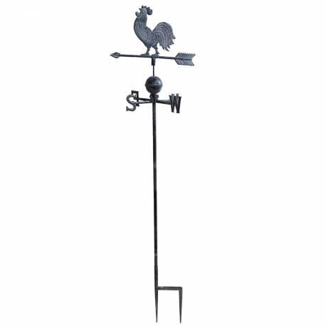 Girouette avec 4 Points Cardinaux Motif Coq 2 Pics en Fonte Patinée Grise 45x45x185cm