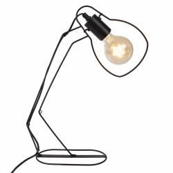 Lampe de Bureau Electrique Eclairage d'Appoint de Chevet avec Abat Jour en Métal Noir 10x32x44cm