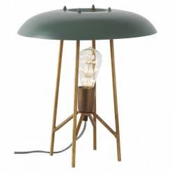 Lampe Rétro Bleue Marque Athezza Luminaire d'Ambiance de Table de Chevet en Métal Doré et Bleu 14x14x39cm