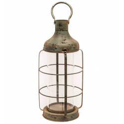 Lanterne à Poser ou à Suspendre Style Ancien Porte Bougie en Métal Patiné Vert Antique Globe en Verre 21,5x21,5x56cm