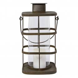 Grande Lanterne à Poser ou à Suspendre Bougeoir Style Ancien Porte Bougie en Métal Marron Globe en Verre 18x18x47cm