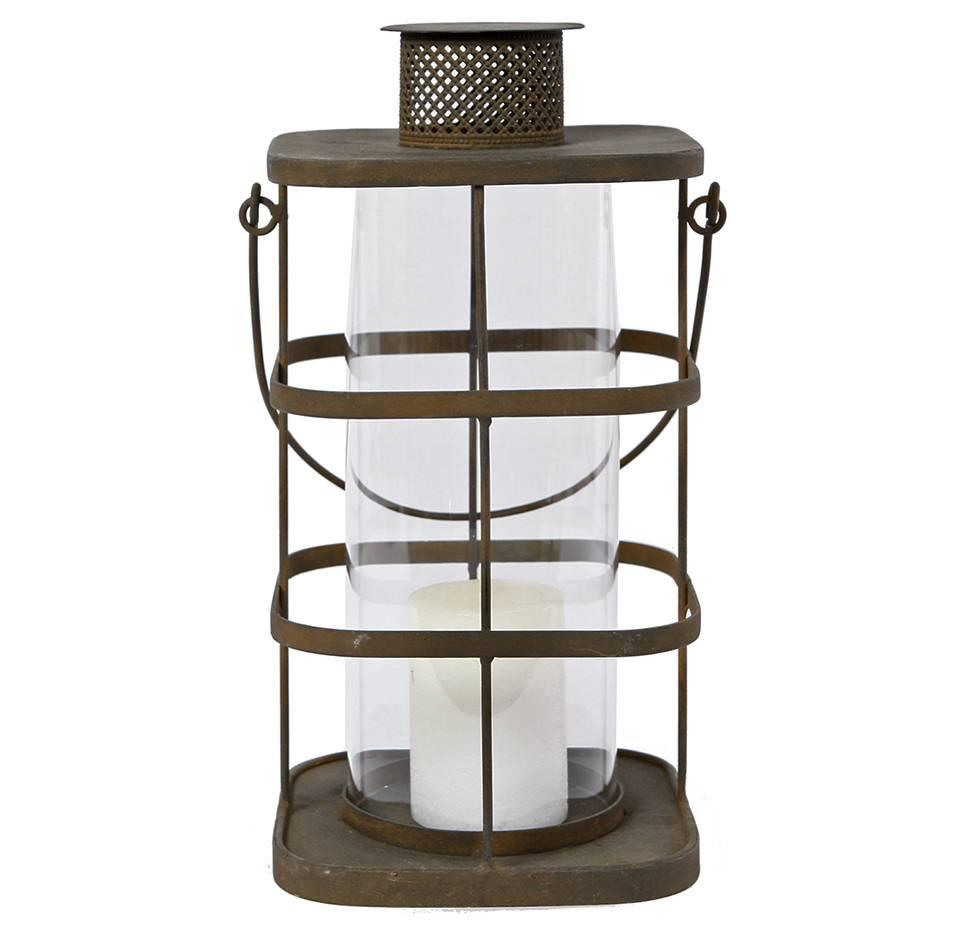 Lanterne Ou Bougeoir Ancien Verre 18x18x47cm Globe Grande Style Porte Marron À Poser Métal Bougie En Suspendre tdrhQs