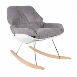 Fauteuil à Bascule Rocky Rocking Chair Design Woody en Bois et Tissu Gris 76x84x98cm