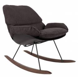 Fauteuil à Bascule Rocky Rocking Chair Design Woody en Bois et Tissu Marron 76x84x98cm