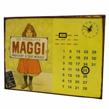 Plaque Horloge Calendrier Perpétuel Pendule sur Plaque Murale Publicitaire en Métal Maggi 3x26x35cm