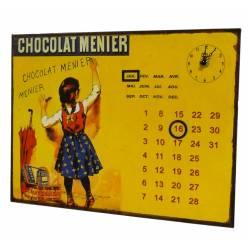 Plaque Horloge Calendrier Perpétuel Pendule sur Plaque Murale Publicitaire en Métal Chocolat Menier 3x26x35cm
