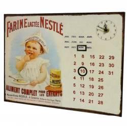 Plaque Horloge Calendrier Perpétuel Pendule sur Plaque Murale Publicitaire en Métal Farine de Nestlé 3x26x35cm