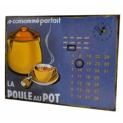 Plaque Horloge Calendrier Perpétuel Pendule sur Plaque Murale Publicitaire en Métal La Poule au Pot 3x26x35cm