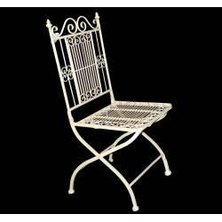 Chaise de Jardin Siège Fauteuil Assise de Salon de Jardin Intérieur Extérieur en Fer Vanille 39x39x95cm