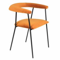 Chaise Velours Haily Dutchbone Vintage Tendance Siège de Table Orange 55x58x75cm