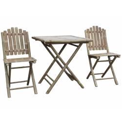 Salon Tendance de Jardin Pliable 2 Personnes 1 Table 2 Chaises en Bambou