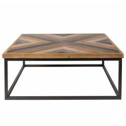 Table Basse Joy Marque Woody Console Carrée en Bois et Métal 37x85x85cm