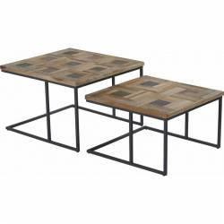 Table Basse Kobé Marque Hanjel Set de 2 Consoles Sellettes Guéridons 2 Dimensions en Bois et Métal