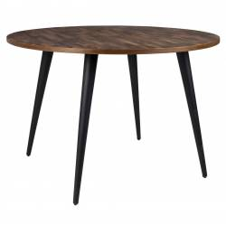 Table Ronde MO 110 Table de Repas Woody Salon Design Industriel Vintage en Acier et Teck 76x110x110cm
