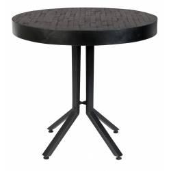 Table Woody Ronde Noire Maze Table de Repas Design Industriel en Acier et Bois Noir 75x75x77cm