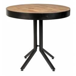 Table Woody Ronde Maze Table de Repas Design Industriel en Acier et Bois Naturel 75x75x77cm