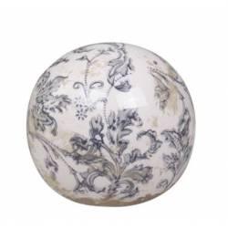 Boule Décorative Sphère Objet Déco à Poser en Céramique Blanche Motif Baroque Ø 8,5cm